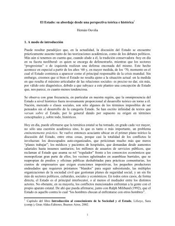 El Estado: su abordaje desde una perspectiva teórica e histórica ...