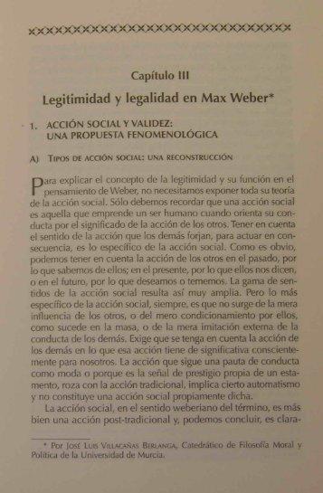 Legitimidad y legalidad en Max Weber* - Universidad de Murcia