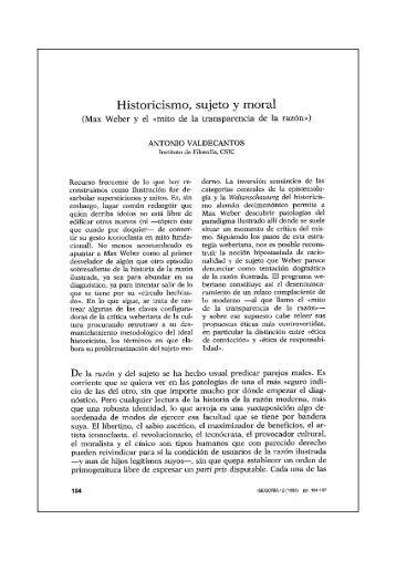 Historicismo, sujeto y moral - Bases de datos Bibliográficas del CSIC