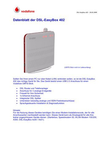 Datenblatt der Dsl-Easybox 402