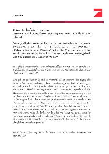 Oliver Kalkofe im Interview - fairmedia GmbH