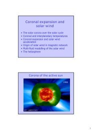 Coronal expansion and solar wind - IMPRS Solar System School
