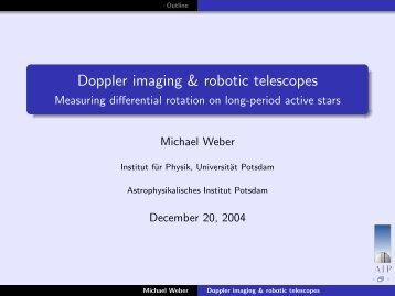 Doppler imaging & robotic telescopes - Measuring differential ... - AIP