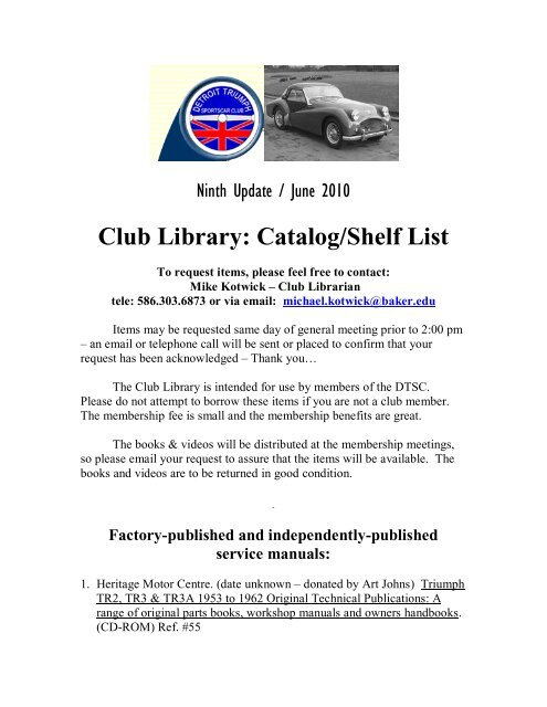 Club Library Catalogshelf List Detroit Triumph Sports Car Club