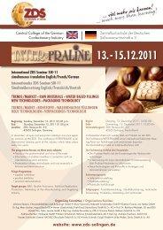 Programm INTER-PRALINE 2011 - Zentralfachschule der ...