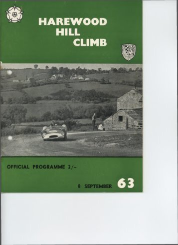 Programme 1963 8th September 4th Hillclimb - Harewood Hill History