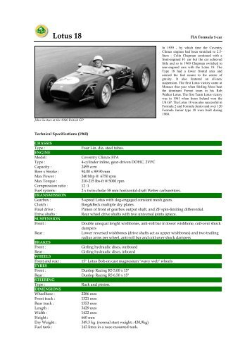 1960 Lotus 18 - Motorsports Almanac