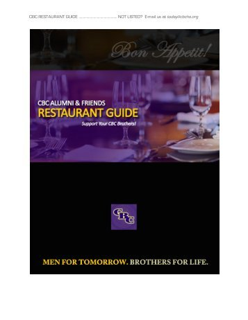 CBC RESTAURANT GUIDE ............................................ NOT LISTED ...