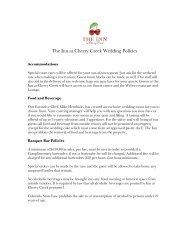 Wedding Policies - The Inn at Cherry Creek