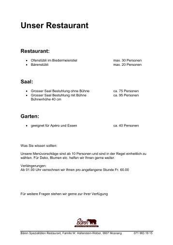 Unser Restaurant - Spezialitäten Restaurant Bären Mosnang