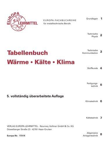 Tabellenbuch Wärme Kälte Klima - Europa-Lehrmittel