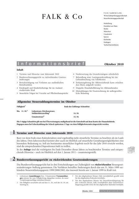 1 Termine und Hinweise zum Jahresende 2010 - FALK & CO