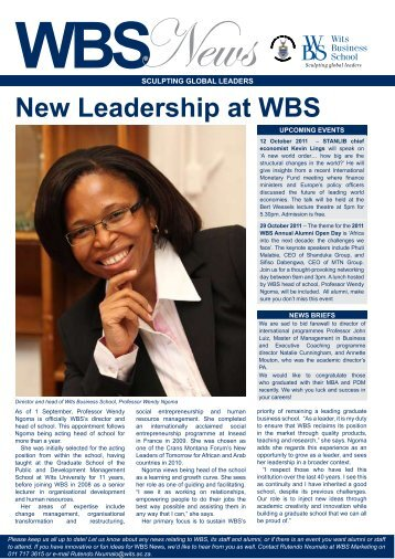 WBS Newsletter Issue 5 2011 - Wits Business School