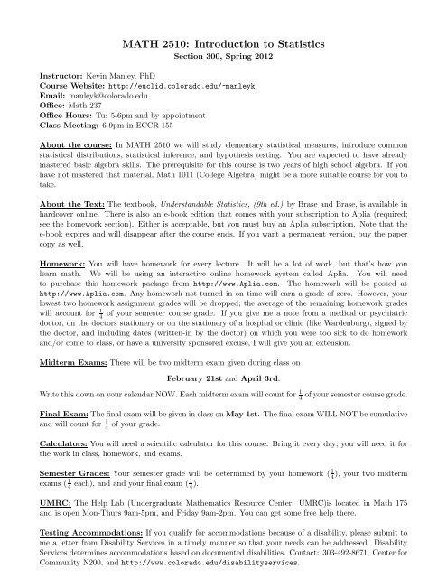 MATH 2510: Introduction to Statistics - Euclid Colorado - University