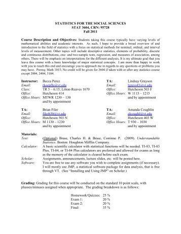 STATISTICS FOR THE SOCIAL SCIENCES STAT ... - Virginia Tech