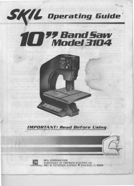 10 Band Saw Model 3104 Manual Guides
