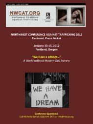 NORTHWEST CONFERENCE AGAINST TRAFFICKING 2012 ...