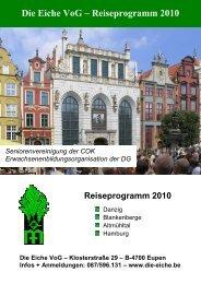 Die Eiche VoG – Reiseprogramm 2010