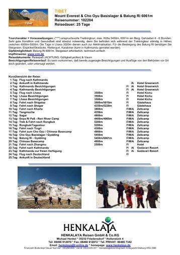 Mount Everest & Cho Oyu Basislager & Balung Ri 6061m ...