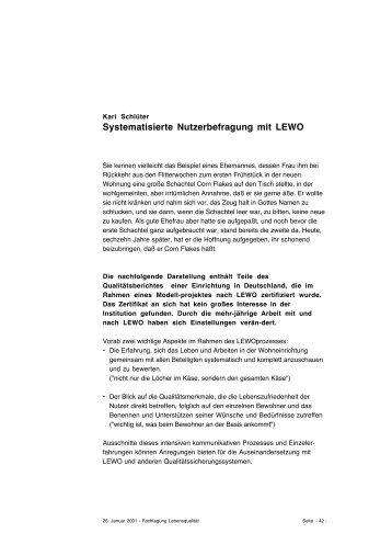 Systematisierte Nutzerbefragung mit LEWO