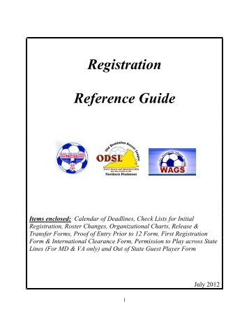 Registration Reference Guide - Old Dominion Soccer League