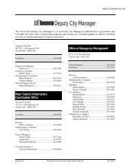 Deputy City Manager phone directory - City of Toronto