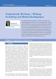 Vergleichende Werbung – Wirkung, Gestaltung ... - transfer Zeitschrift