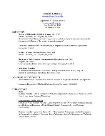 Curriculum Vitae - Mercyhurst College Political Science Department