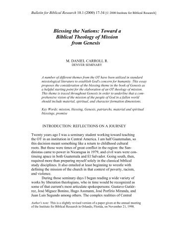 Blessing the Nations: Toward a Biblical Theology of - Institute for ...