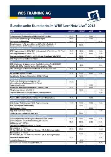 Bundesweite Kursstarts im WBS LernNetz Live ... - WBS Training AG