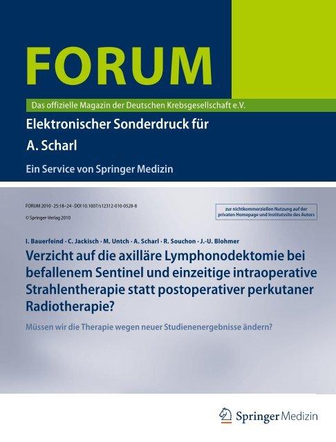 Verzicht auf die axilläre Lymphonodektomie bei ... - AGO-Online - App
