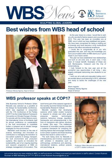 WBS Newsletter Issue 7 2011 - Wits Business School