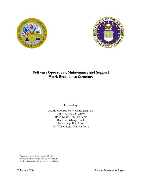 Software Operations, Maintenance and Support Work Breakdown