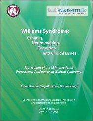 Williams Syndrome - Laboratory for Cognitive Neuroscience - Salk ...