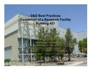 D&D Best Practices Demolition of a Research Facility Building 431