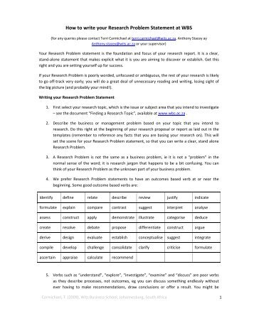 How to write your Research Problem Statement at WBS