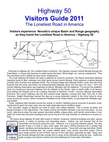 Highway 50 Visitors Guide 2011 - Eureka County, Nevada