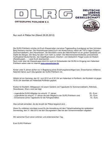 An alle Mitglieder der DLRG Pohlheim Pohlheim, den 30