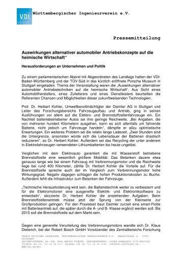 Pressemitteilung - VDI Stuttgart