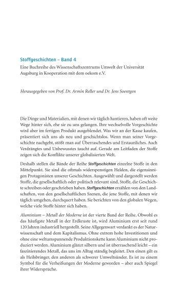 Stoffgeschichten – Band 4 - WissenschaftsZentrum Umwelt ...