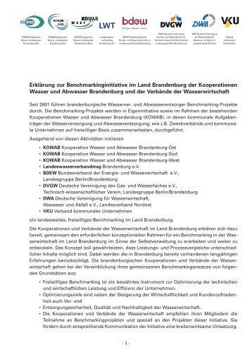 Erklärung zur Benchmarkinginitiative im Land Brandenburg der ...