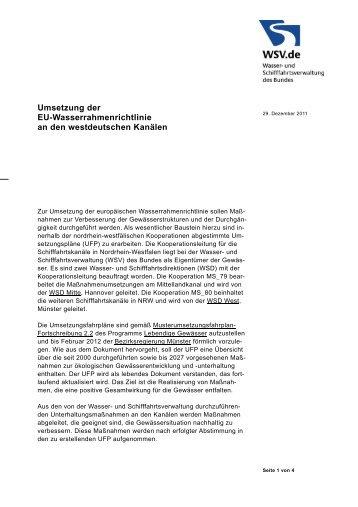 Umsetzung der EU-Wasserrahmenrichtlinie an den westdeutschen ...