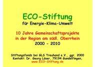 Vortrag Dr. G. Löser zu 10 Jahre ECO - ECO-Stiftung für Energie ...