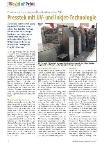 Presstek erweitert digitale Offsetdruckmaschine 75DI