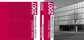 Bieler Jahrbuch 2007 - mémreg - regionales Gedächtnis