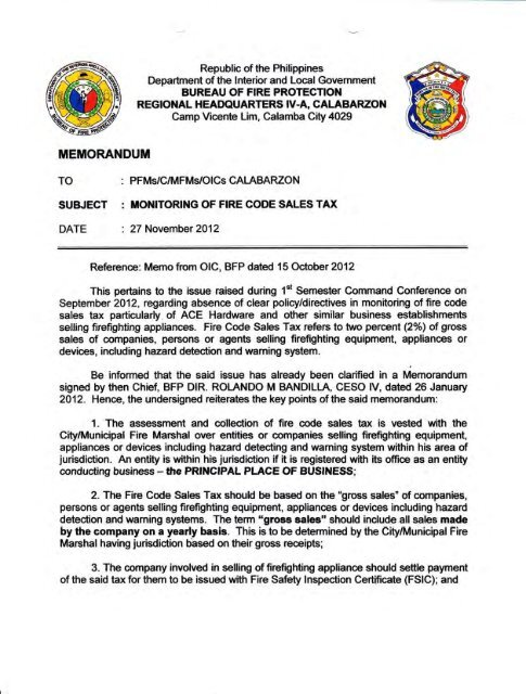 Monitoring of Fire Code Sales Tax - BFP Region 4A