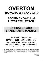 Operator & Spare Parts Manual - Overton UK Ltd