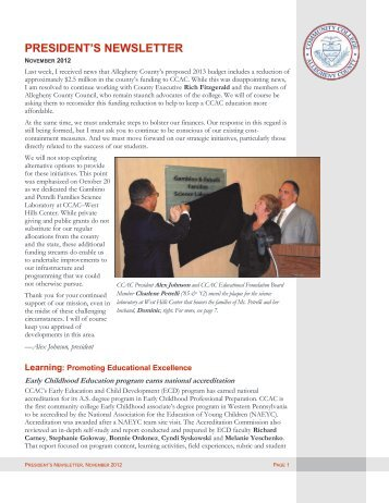president's newsletter - Community College of Allegheny County