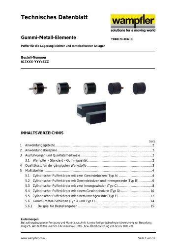Technisches Datenblatt Gummi-Metall-Elemente