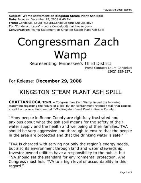 Wamp Statement on Kingston Steam Plant Ash     - Times Free
